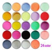 최고의 판매 새로운 실용 우수한 내구성 24 색 아크릴 분말 먼지 네일 아트 장식