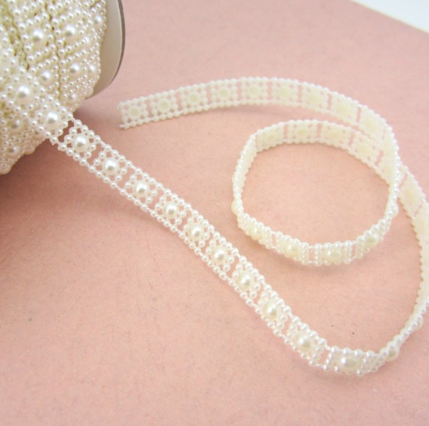 Free Shipping 2Meters/Lot 10mm Craft Square Imitation Pearl Beads Cotton Line Chain For DIY Wedding Party Decoration Party