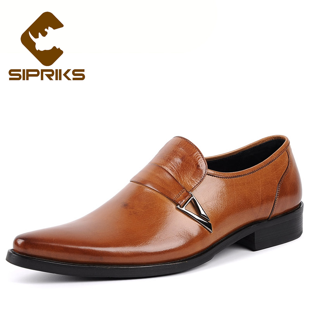 Sipriks mens genuine leather spiked loafers for men british style formal men shoes blue tuxedo shoes slip on dress shoes elegant