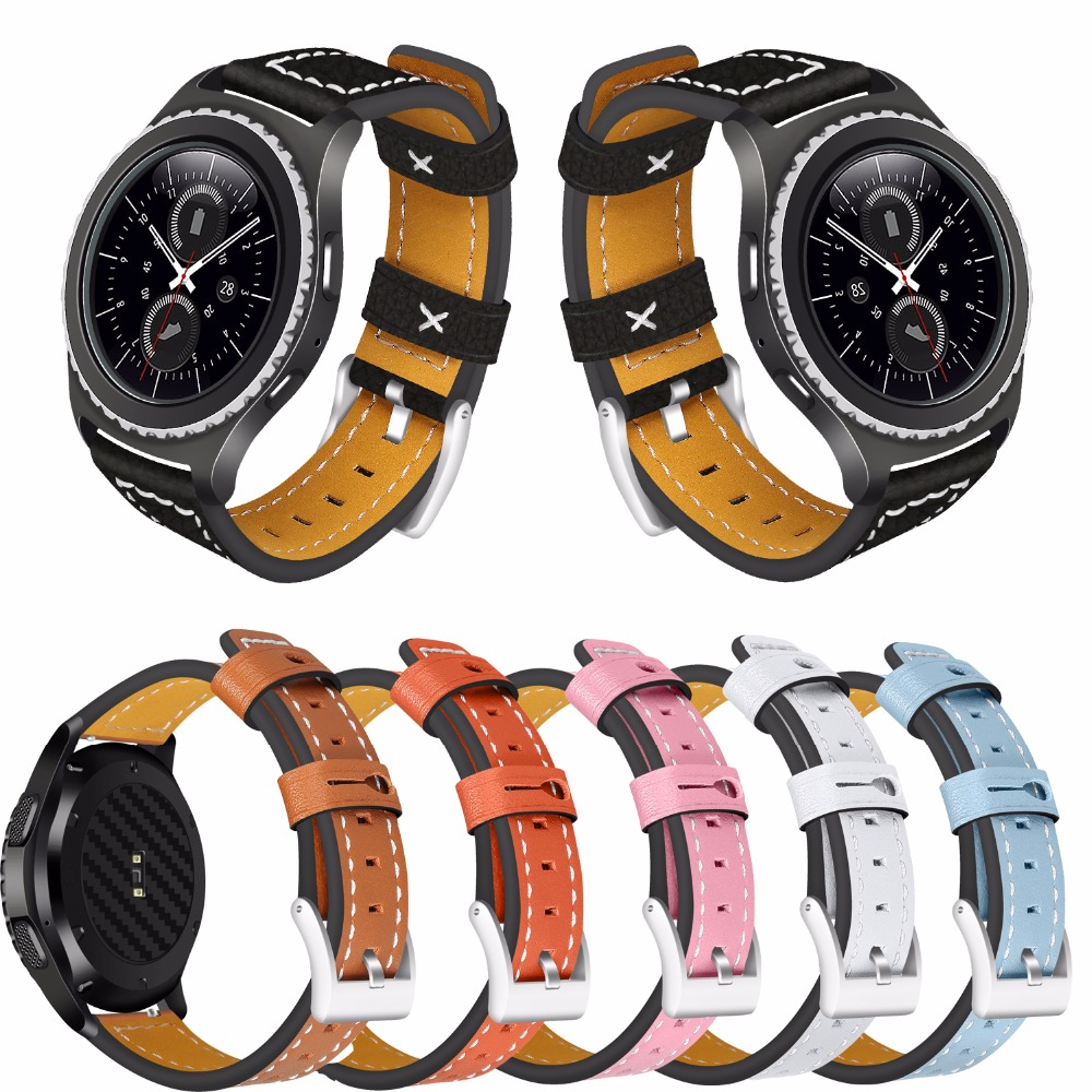 For Samsung Gear S2 watch band Luxury Genuine Leather Style Quick Release Watch Strap wristband for Samsung Gear S2 20mm silicone band strap wristband for samsung gear s2