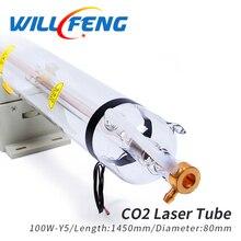 윌 펭 100W Co2 레이저 튜브 길이 1450mm 직경 80mm 레이저 램프 이산화탄소 레이저 조각 커터 Mahcine