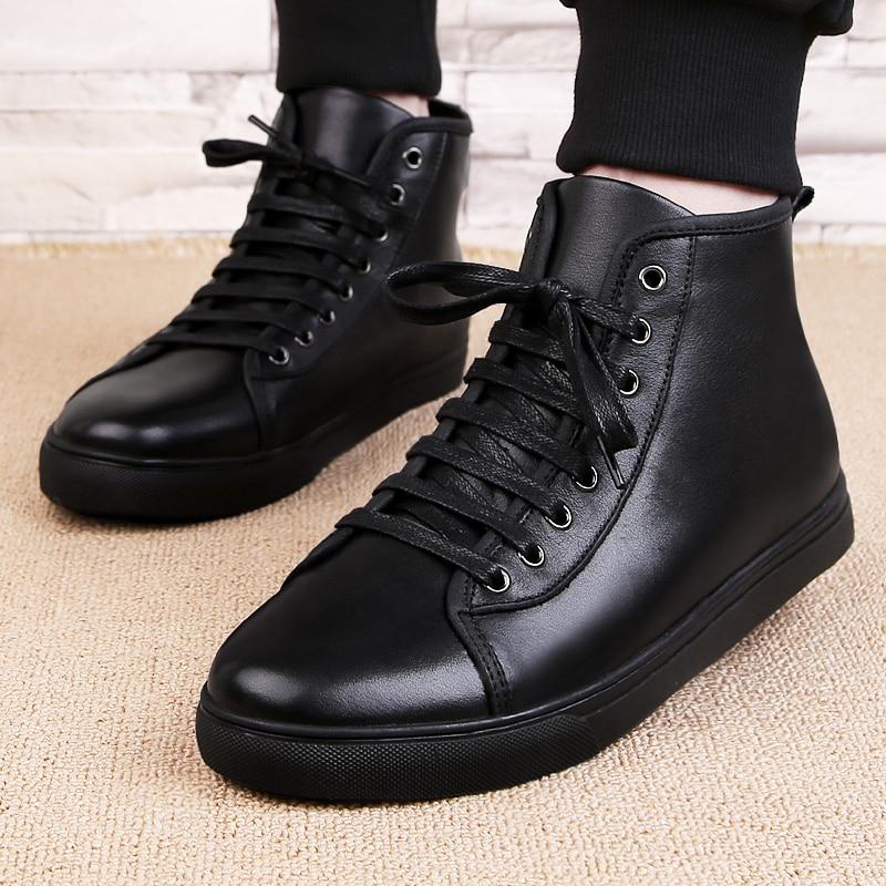 Peluche Mode Formateurs black High Sneakers En Fur Cuir Taille Lacent Plus Casual Hommes Roulettes Chaussures À Top Planche Chaud Black 3748 Véritable 8vNnwm0