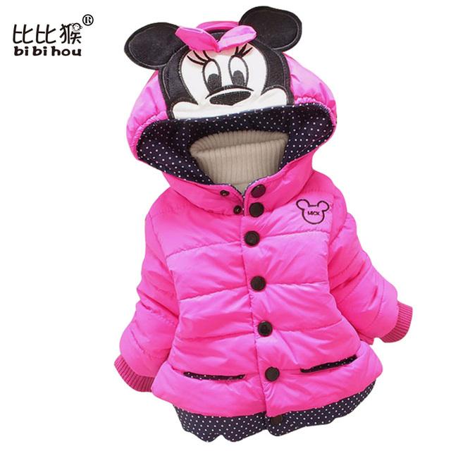 Varejo Minnie Crianças casaco meninas jaqueta Outerwear Roupas Rato Meninas Do Bebê Casacos Crianças Jaqueta de Inverno Crianças Quente Para Baixo Parkas