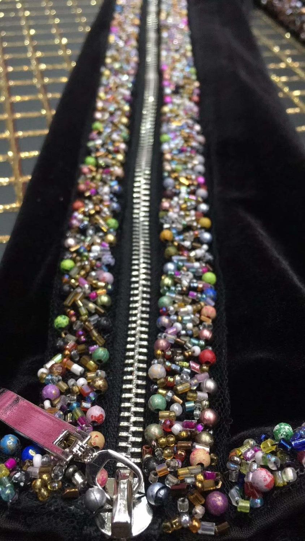 Robes Star Zipper Mode Automne À Nouveau Perles Nuit Longue Balck Manches Soirée Élégant Clubwear 2019 Velours De Longues dxsQthrC