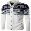 2016 Mens Del Otoño Suéteres de Invierno Masculina de Un Solo Pecho chaqueta de Punto prendas de Punto Jacquard del Hombre Slim Fit Marca Ropa SweaterCoats