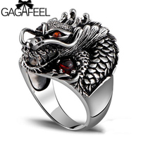 GAGAFEEL Big Size Men Rings 100% 925 Sterling Silver Dragon Ring With Red Stone For Male Adjustable Fine Jewelry Birthday Gift