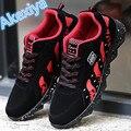 2017 de Los Hombres de Colchón de Aire de Moda Casual Zapatos de Los Hombres con cordones Negro Rojo Azul de Primavera Otoño Caminar Trotar de Los Hombres zapatos Entrenadores