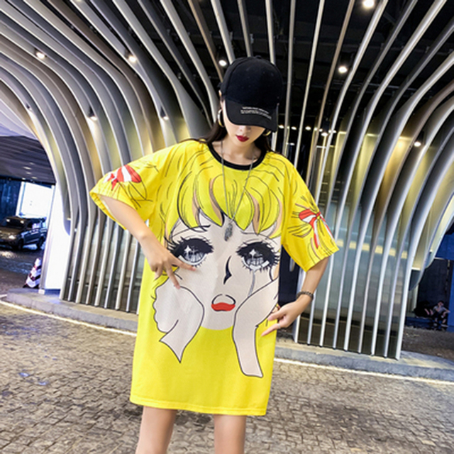 Mr.nut 2019 summer new loose Korean version of the cartoon print dress cute girl casual commuter dress