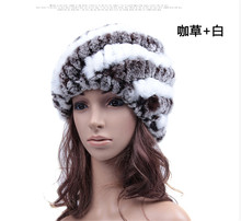 2017  Women's Fashion real knitted Rex rabbit fur hat lady winter warm charm  caps female headgear