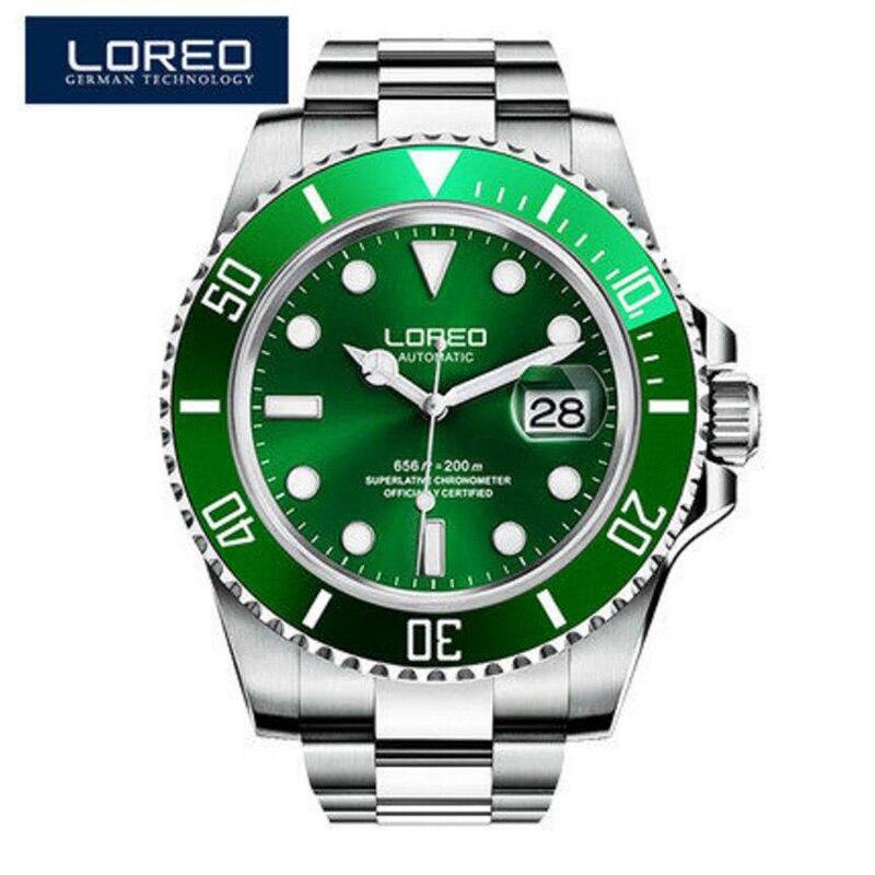 2019 relógios masculinos loreo esporte à prova dwaterproof água 200 m relógio relogio masculino relógio automático mecânico militar do exército