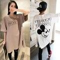 Atacado Character t-shirt de maternidade verão de algodão Plus Size 2 cores gravidez de manga curta camisetas Tops