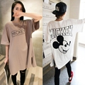 Comercio al por mayor Carácter de Maternidad T-shirt de Verano de Algodón Más El Tamaño 2 Colores Embarazo de manga Corta Tee Shirts Tops