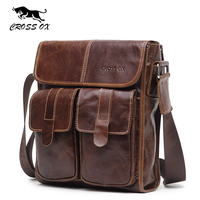 2017 New CROSSOX Brand Fashion Cowhide Men Crossbody Bags Genuine Leather Bags For Men Wax Oil