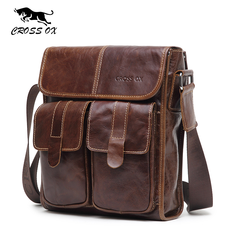 CROSS OX 2016 New Arrival Men's Shoulder Bag Satchel Genuine Cowhide Leather Messenger Bags For Men Rugged Portfolio SL387M