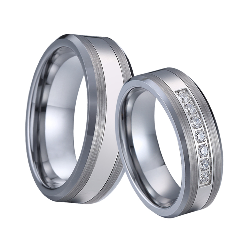 Combined Titanium Tungsten Rings Men's Wedding Band silver color bague anel anillos Couple Engagement Rings for women (2)