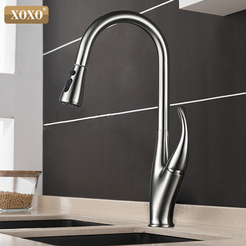 XOXO Kitchen Faucets Pull Out Cold and Hot Single Handle Kitchen Tap Single Hole Handle Swivel