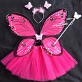 Beautiful Fantasy Fairy Angel Butterfly Wings + tutu skirt Child Girls Christmas Halloween Party Cosplay Costumes 4 piece Set