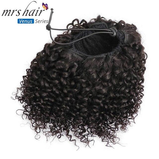 Extensiones de Cabello virgen rizadas Afro MRSHAIR para mujeres negras pelo Natural brasileño Clip pelo cordón cola de caballo