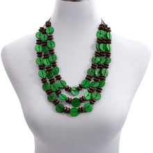лучшая цена Wholesale Green Layered Coconut Shell Necklace Wholesale Multicolor Wood Beads Strand Handmade Knitted Women Bohemian Jewelry