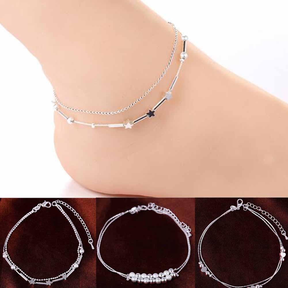 TOMTOSH Women 925 Chain Anklet Bracelet Barefoot Sandal Beach Foot Jewelry