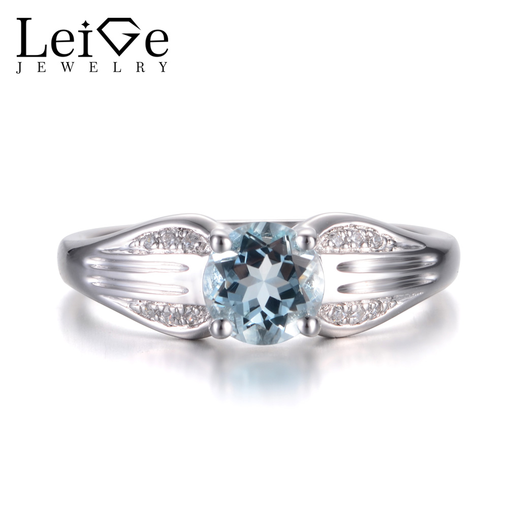 Leige Jewelry Natural Sky Blue Aquamarine Ring March Birthstone Round Cut Gemstone Solid 925 Sterling Silver Simple Ring for Her