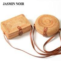 Handmade Rattan Woven Round Women Crossbody Bag Vintage Retro Straw Square Box Messenger Bag Lady Summer