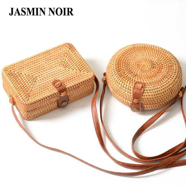 48ee3da745d8 Handmade Rattan Woven Round Women Crossbody Bag Vintage Retro Straw Square  Box Messenger Bag Lady Summer Cute Beach Shoulder Bag