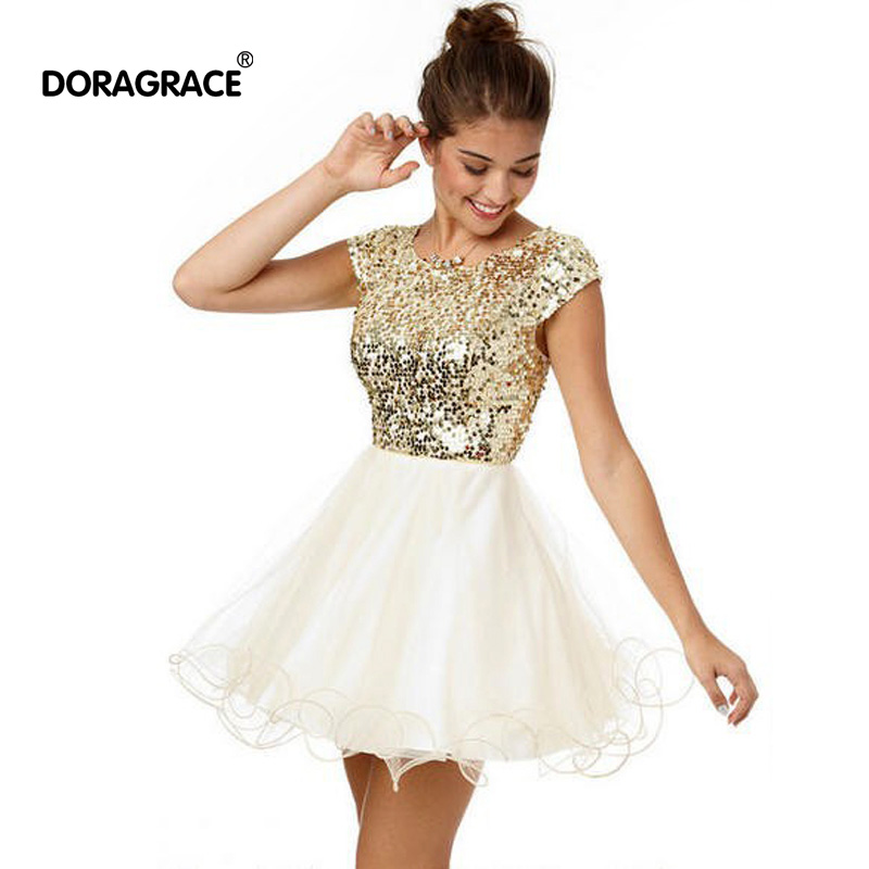 New Fashion   Cocktail     Dresses   Sequins Short Party   Dress   For Special Occasion vestido de festa curto DGC002
