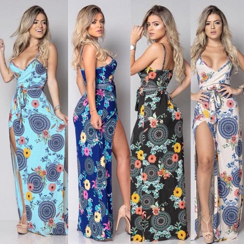 Women Sleeveless Strapless Slit Long Dress Summer Elegant Club Party Dress Sexy Flower Print V Neck Dresses Lady Tunic Vestidos in Dresses from Women 39 s Clothing