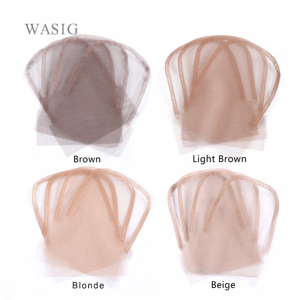 Lace Closure Frontal Base 4x4inch Brown Color Swiss Lace Wig Caps For Making Closure 6pcs/lot