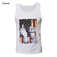 Onseme Apparel Mens Cotton Tank Tops Vintage Punk Style USA Flag Prints Tshirts Sleeveless Tees Male