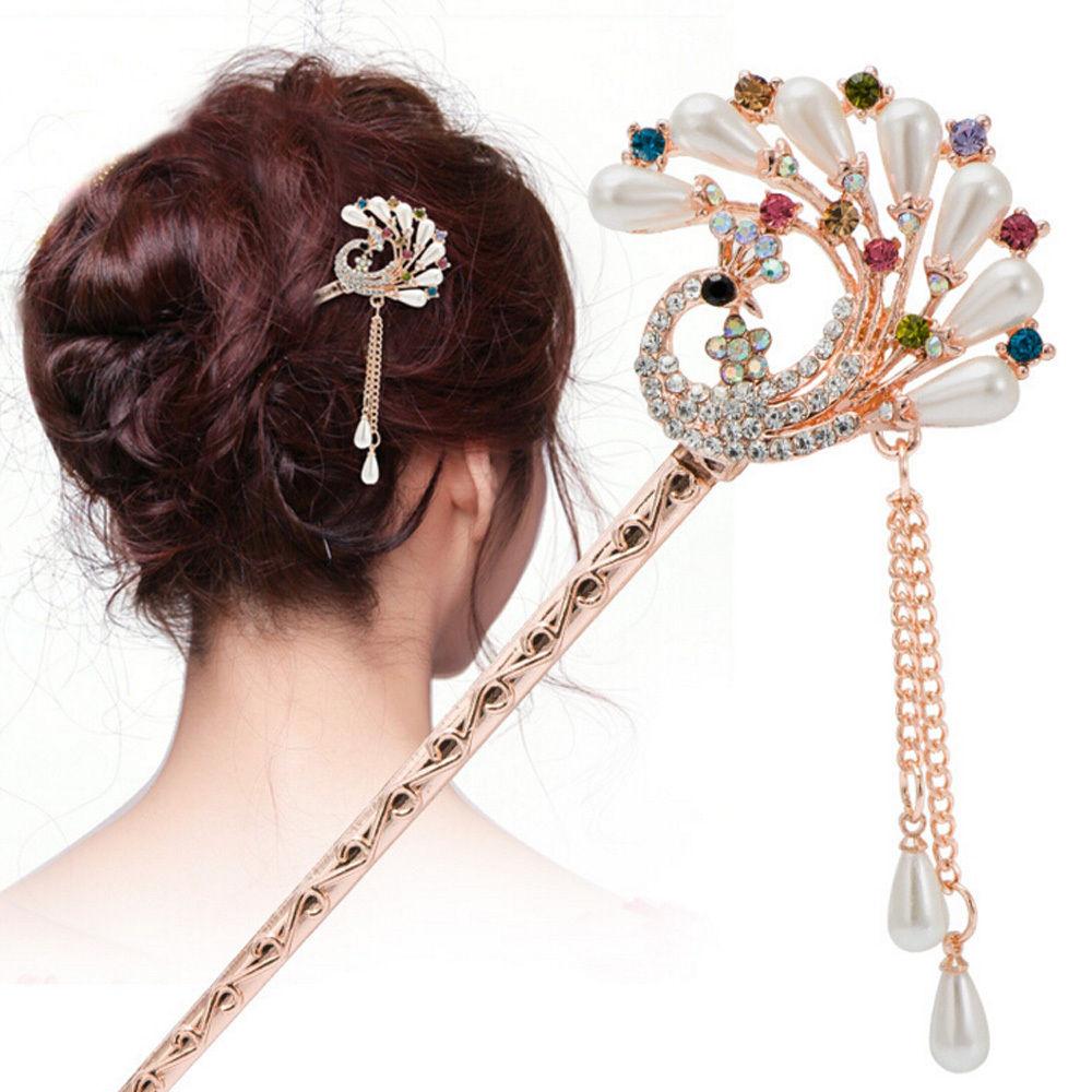 Vintage Retro Flower Tassel Handmade Hair Sticks Hair ...