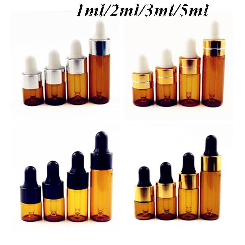 5pcs/Pack 1ml 2ml 3ml 5ml Amber Glass Dropper Bottle Essential Oil Display Vials Small Serum Perfume Brown Sample Test Bottle-in Refillable Bottles from Beauty & Health