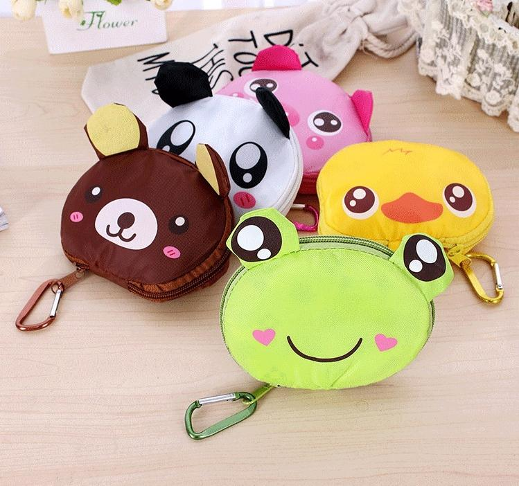 Free shipping <font><b>japanese</b></font> style big head animal <font><b>shopping</b></font> <font><b>bag</b></font> <font><b>folding</b></font> portable super large green eco-friendly <font><b>bag</b></font> 100pcs SN1621 image