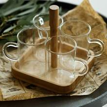 Simple Transparent 4 Pcs Glass Cup Set With Bamboo Tray Holder For Tea Juice Water Beer Coffee Whiskey Drinkware