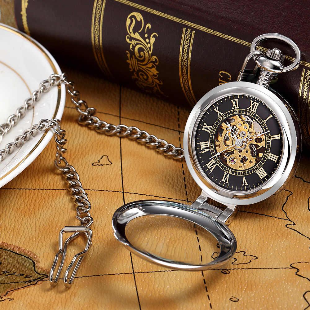 ORKINA חדש מותג נירוסטה גברים אופנה מזדמן שעון כיס שלד כחול חיוג יד רוח מכאני זכר Fob שרשרת שעונים