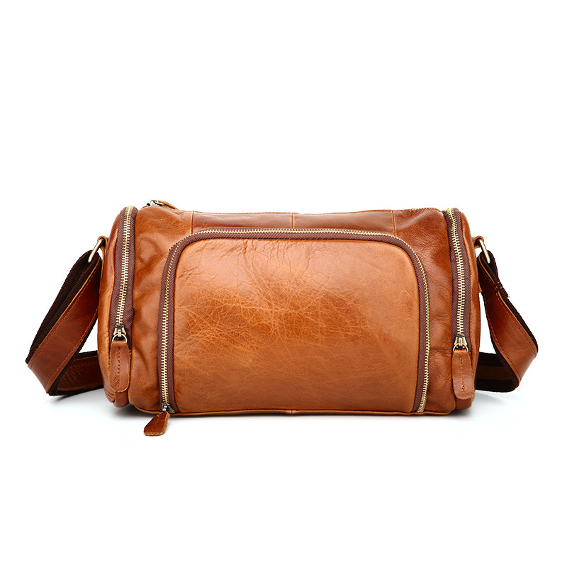 Vintage 100 Guarantee Real Skin Genuine Leather Cowhide Small Men Messenger Bags M349