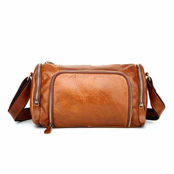 Vintage 100% Guarantee Real Skin Genuine Leather Cowhide Small Men Messenger Bags #M349 - DISCOUNT ITEM  50% OFF All Category