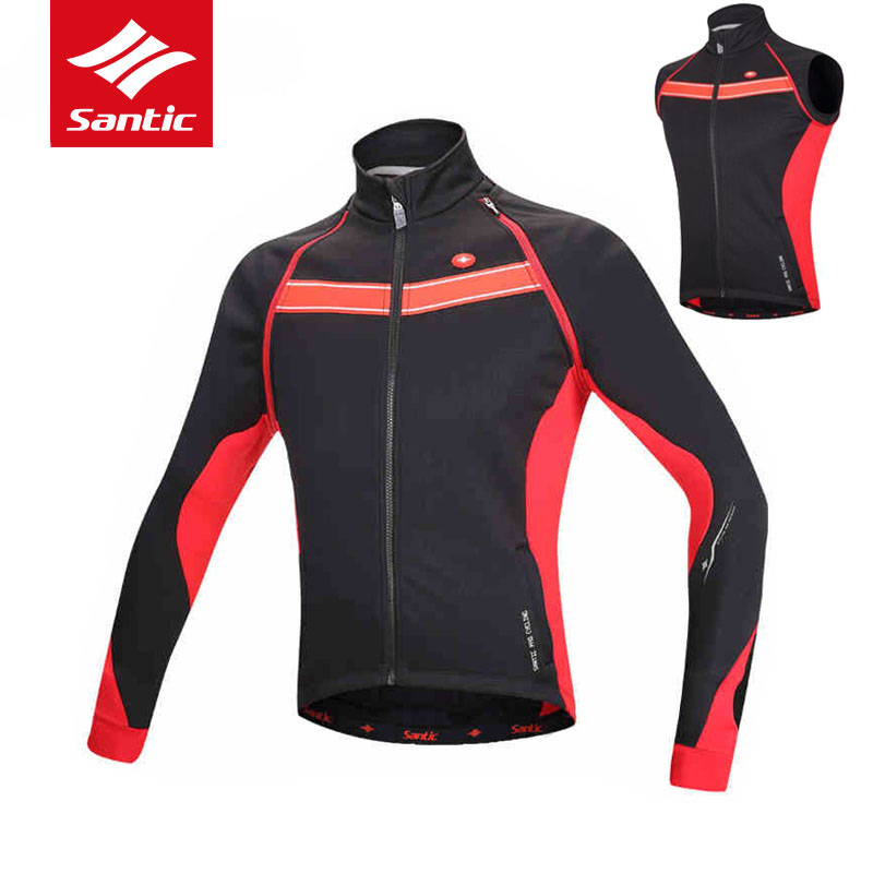 Santic Men Winter Tour de France Cycling Jacket Removable Sleeve Cycling Windcoat Fleece Thermal Windproof Bike Bicycle Jacket santic autumn winter cycling fleece jacket thermal windproof mountain bicycle bike jacket windcoat mtb cycling jacket clothing