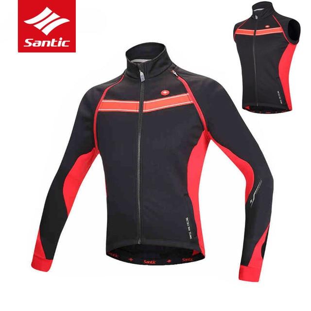 1e272b8dd Santic Men Winter Tour de France Cycling Jacket Removable Sleeve Cycling  Windcoat Fleece Thermal Windproof Bike Bicycle Jacket