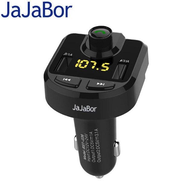 JaJaBor Bluetooth voiture Kit FM transmetteur mains libres Support TF carte U disque voiture MP3 lecteur Audio Support dossier interrupteur fonction