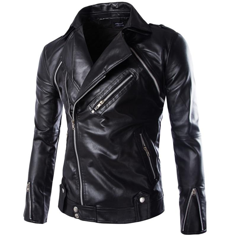 남성 슬림 경사 지퍼 슬림 가죽 자켓 오토바이 자켓 새로운 패션 남성 힙합 스타일 스트리트웨어 가죽 & 스웨이드