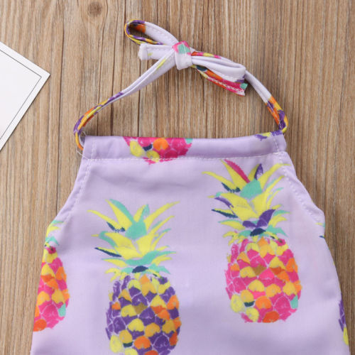 New Baby Girls Pineapple Purple Swimwear Bodysuits Halter Backless Kids Bikini One Piece Bathing Suit Beachwear Swimsuit