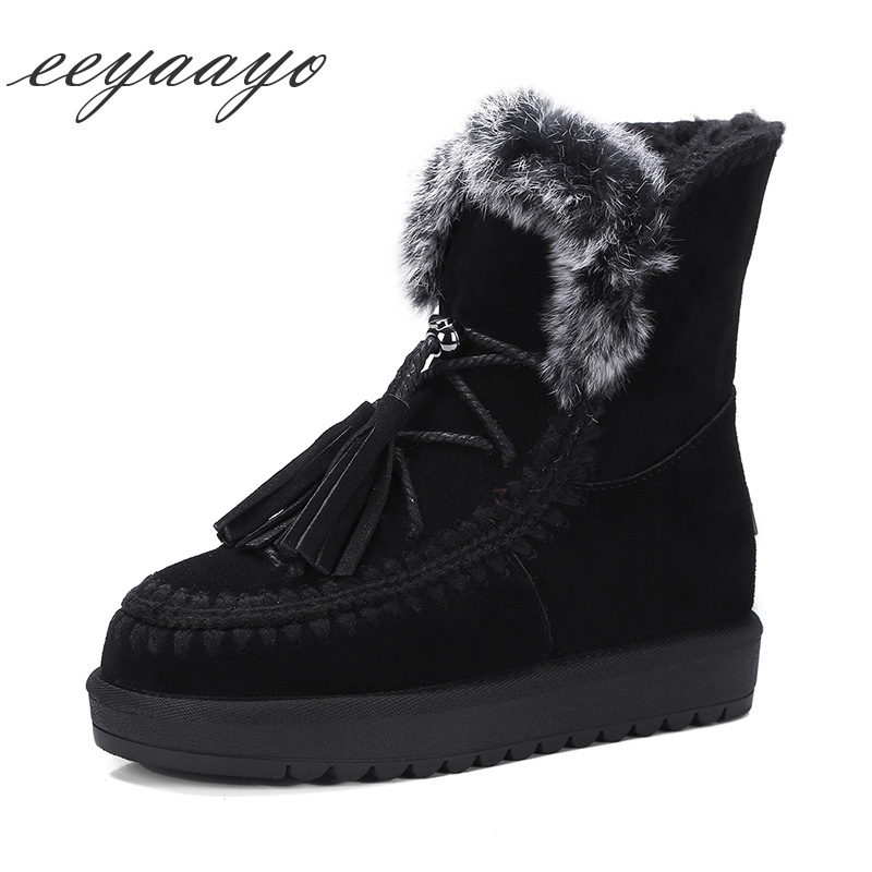 2018 New Winter Shearling Women Ankle Boots Platform Middle Heel Warm Wool Lining Real Fur Slip-On Women Shoes Black Snow Boots 2018 newest shoes woman winter boots ankle shearling snow boots wool fur cozy chain boots platform design waterproof snow boots