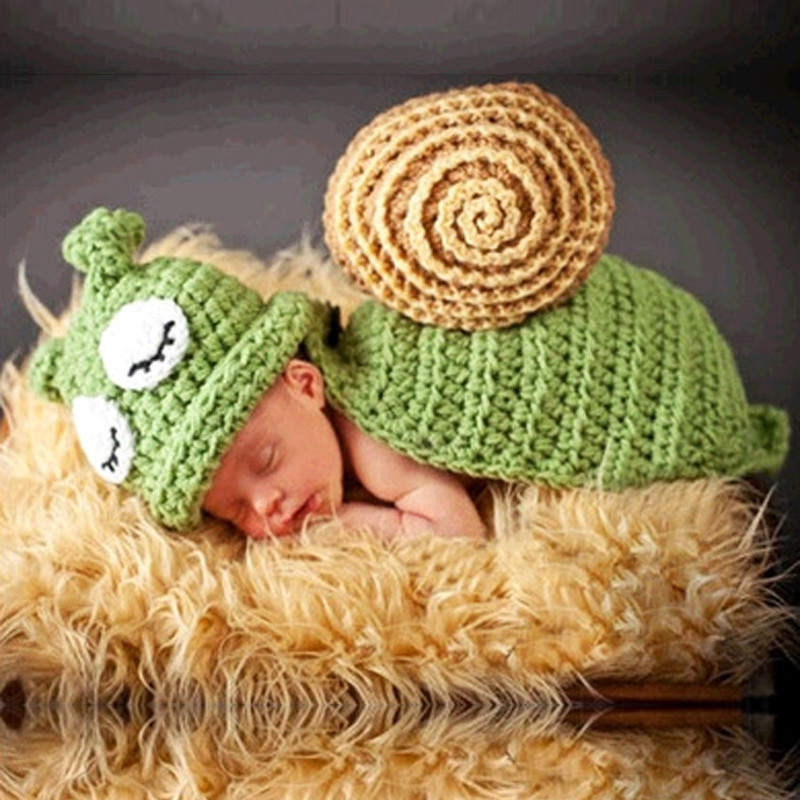 Μωρό καπέλο μωρό νεογέννητο σκηνικά Φωτογραφία Χαριτωμένο σαλιγκάρι χέρι πλέκω Knit στηρίγματα με καπέλο καπέλα για τα νεογέννητα Αξεσουάρ Φωτογραφίας