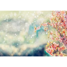 Laeacco Cherry Blossom Flowers Spring Polka Dots Party Wallpaper Scenic Photography Backdrops Photo Backgrounds For Studio