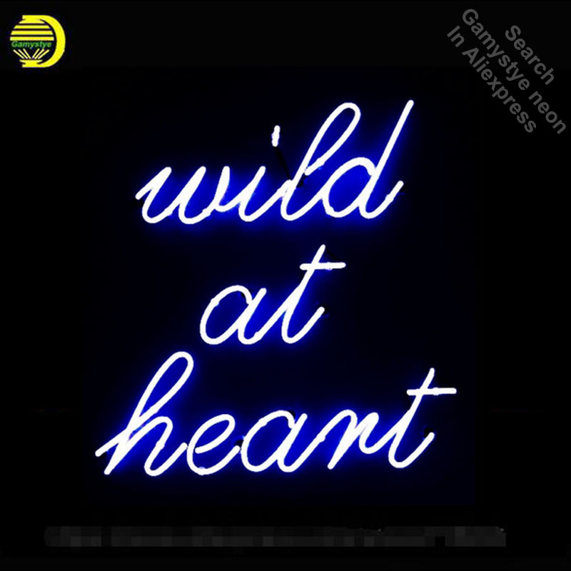 Wild at Heart Neon Sign Advertise Custom LOGO Neon Bulb Beer Glass Tube Handcrafted Neon Glass Tubes Recreation Room Lamps 17x14