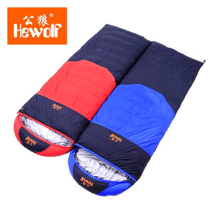 Hewolf 210*80cm Sleeping Bag Autumn and Winter Outdoor Adult Envelope Style Thickening Thermal Duck Down Sleeping Bag hewolf outdoor sleeping bag envelope thick warm autumn and winter camping adult sleeping bag ultralight duvet
