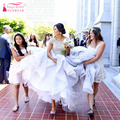 Lindo Uma Linha Beading Vestidos de Casamento vestido de Praia O-pescoço manga Curta Nupcial Weeding Vestidos Gelinlik Z837