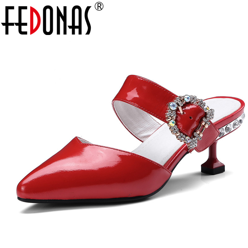 FEDONAS Brand Rhinestone Women Patent Leather High Heel Wedding Party Shoes Woman Pointed Toe Spring Summer Pumps Ladies Shoes hee grand sweet patent leather women oxfords shoes for spring pointed toe platform low heels pumps brogue shoes woman xwd6447
